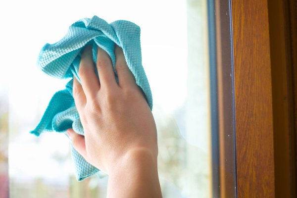 Sparkling clean windows with salt and vinegar